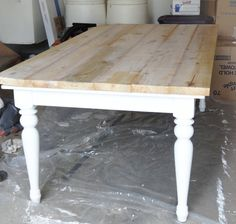 Farmhouse Table DIY... love this but I like the look of stain better.