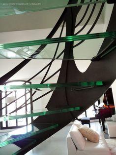 escalier contemporain verre