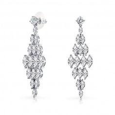 Bling Jewelry Cubic Zirconia Tiered Bridal Chandelier Dangle Earrings