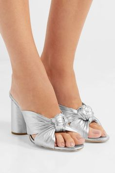 Loeffler Randall | Coco knotted metallic leather mules | NET-A-PORTER.COM