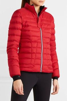 Red and navy shell Partially concealed zip fastening through front 100% nylon; filling: 100% down (Goose) Machine wash  Imported