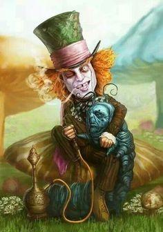 Alice in wonderland Alice In Wonderland Artwork, Dark Alice In Wonderland, Alice And Wonderland Tattoos, Adventures In Wonderland, Dark Disney, Disney Art, Chesire Cat, Alice Madness, Psy Art