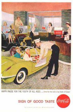 vintage coke signs | Coke Sign of Good Taste Drive In Soda Fountain (1958)