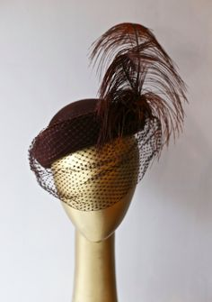Fabulous Vintage 1940s Ladies Hat with Feather ~ Vintage 40s Brown Felt Tilt Hat With Large Feather Plume and Veil by xtabayvintage on Etsy