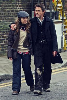 "Robert Downey Jr. and Susan Downey on the set of ""Sherlock Holmes"""