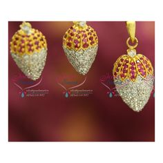 Chain not included Height of the pendant is 38 mm. Ruby Pendant, Pendant Set, Pendant Earrings, Drop Earrings, Pineapple Design, Grand Designs, Delicate Rings, Ball Chain, Party Wear