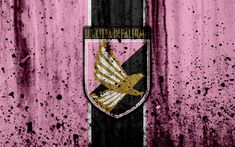 Download wallpapers Palermo, 4k, grunge, Serie B, football, Italy, logo, soccer, FC Palermo, stone texture, football club, Palermo FC