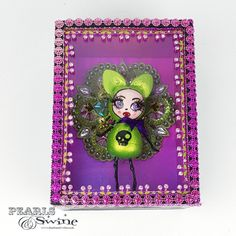 """Toxique"" Pop Surreal Lowbrow Doll Sculpture Sculpture Art, Sculptures, Metallic Pink, Box Frames, Cat Ears, Surrealism, Pink Purple, Jewelry Art, Applique"