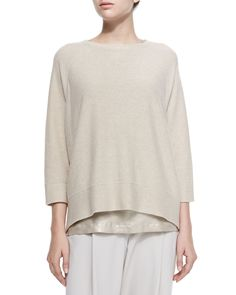 Brunello Cucinelli Cashmere 3/4-Sleeve Reversible Sweater in Beige ...