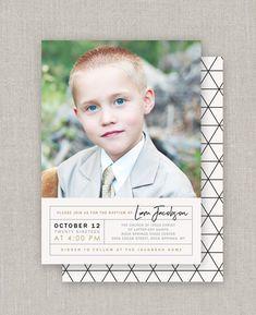 LDS Baptism Invitation Liam | Etsy Christmas Collage, Christmas Cards, Baptism Invitations, Overnight Shipping, Color Correction, Front Design, Lds, Photo Cards, White Envelopes