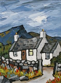 Cottage below the Carneddau contemporary Modern Paintings. View all David BARNES art and Modern artwork at Red Rag art gallery. Abstract Landscape, Landscape Paintings, Abstract Art, Acrylic Paintings, Landscapes, Abstract Portrait, Cottage Art, Irish Art, Modern Artwork