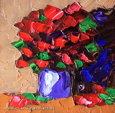 6x6 painting - Floral painting small original acrylic on panel palette knife brown red impressionist still life fine art by Cristina Jacó