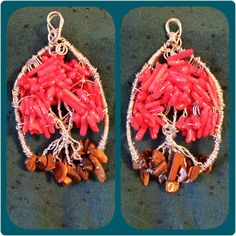 Tree / Wire Wrapped Sun Catcher or Pendant / Coral Chip beads by GratefulHeartMS…
