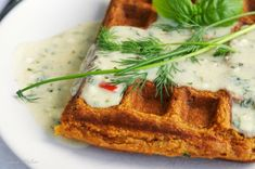 Bell Pepper Cornmeal Waffles with Herb Sauce  [via:http://www.vegalicious.org/2012/06/15/bell-pepper-cornmeal-waffles-with-herb-sauce/]
