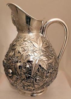 A Sterling Pitcher with Repousse Decoration of Flowers and Butterflies w Durgin | eBay