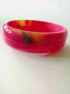 Bakelite Bracelet Chunky Red with Pink Marblette Vintage Polished Catalin Bakelite Bangle 78