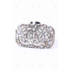 Gorgeous Rhinestone Metal Trimmed Evening Bag ($65) ❤ liked on Polyvore featuring bags, handbags, clutches, white evening bag, evening handbags clutches, evening handbags, evening hand bags and white purse
