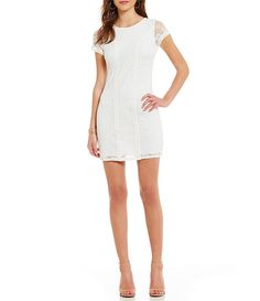 Sequin Hearts Mixed Lace Cap-Sleeve Sheath Dress