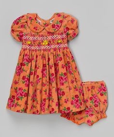 Look at this #zulilyfind! Coral Floral Smocked Babydoll Dress & Bloomers - Infant & Toddler by sissymini #zulilyfinds