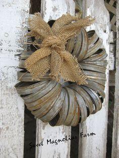 Wreath - Canning Jar Lids - Rustic Farmhouse Style - Garden or Door Decor - by: Sweet Magnolias Farm on Etsy, $24.50
