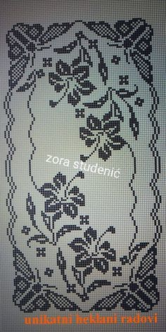 Crochet Patterns Filet, Crochet Table Runner Pattern, Crochet Bedspread Pattern, Crochet Doily Diagram, Crochet Tablecloth, Crochet Stitches, Cross Stitch Rose, Cross Stitch Flowers, Cross Stitch Embroidery
