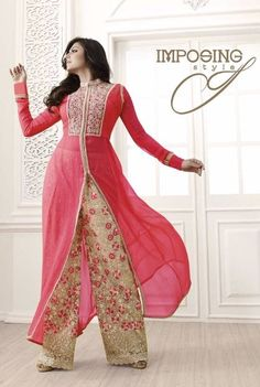Stylish And Elegant Georgette Embroidered Dress Material with Plazzo Style