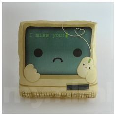 "Decorative Pillow, Computer Pillow, Vintage, Retro, I Miss You, Geek Pillow, Throw Pillow, Kawaii, Cushion, Room Decor, Dorm Decor, 7 x 7"""