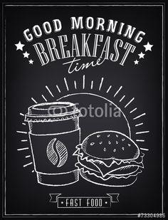 Vektor: Vintage Poster. Breakfast time. Hamburger and coffee.