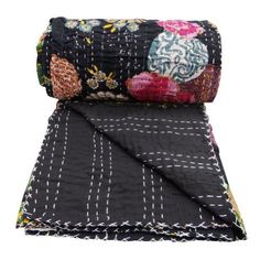 Queen Size Kantha Stitch Quilt Cotton Purple Decorative Gudri Floral Print Reverssible Bedspread  upstairs bedroom