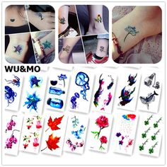Colorful Ocean Fish Flower Body Art Sexy Harajuku Waterproof Temporary Tattoo For Man Woman Henna Fake Flash Tattoo Stickers #Affiliate