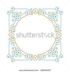 Etno Geometric frame in trendy mono line style. - stock vector