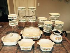 Huge 22pc Glass Pyrex Vegtable Spice Of Life by midcenturypassion