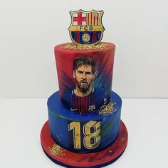 Lionel Messi - cake by Milica Messi Birthday, Soccer Birthday Cakes, 30th Birthday Cake Topper, Happy Birthday Boy, Pastel Del Barcelona, Barcelona Cake, Barcelona Party, Lionel Messi, Fondant Rainbow