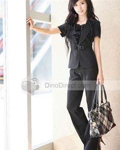 Elegant Short Sleeve Women Skirt Pants Suits - Free Shipping ...