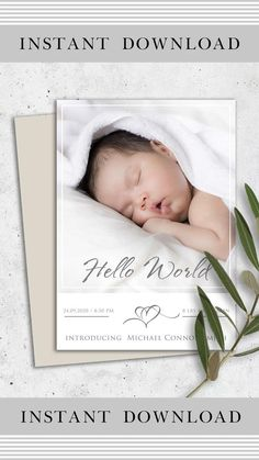 Birth Announcement Template, Baby Announcement Cards, Graduation Announcements, Baby Birth, Baby Milestones, Baby Cards, Personalized Baby, Newborn Photography, Newborns