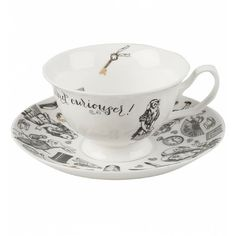 Alice In Wonderland Victoria Albert Museum China Cup And Saucer ($24) ❤ liked on Polyvore featuring home, kitchen & dining, drinkware, tea cup saucer, tea cup, tea cups and saucers and tea saucer