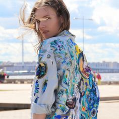 Jeans jacket with hand embroidery Cosmos Studded