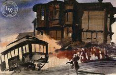 Mary Blair - San Francisco Cable Car, c. 1930, California art, original California watercolor art for sale, fine art print for sale, giclee watercolor print - CaliforniaWatercolor.com