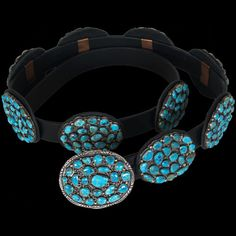Navajo Morenci Turquoise Clusters Belt - Geraldine Yazzie Navajo Jewelry, Southwest Jewelry, Jewelry Art, Native American Art, Native American Jewelry, Turquoise Jewelry, Turquoise Bracelet, Sewing Leather, Fashion Belts