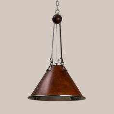 2038-L Polished Steel & Leather Theo Hanging Fixture | Paul Ferrante