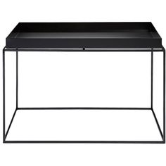 A tray on a table frame is a tray table – especially if the tray can be detached and used to convey the items you need to carry. This metal Tray Table meets your everyday needs in a minimalist idiom. Black Accent Table, Grey Side Table, Chair Side Table, Accent Tables, Side Tables, Hay Tray Table, Table Frame, A Table, Hay Design