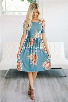 Dusty Blue Cream Floral Modest Summer Dress, dress with sleeves, Church Dresses, dresses for church, modest bridesmaids dresses, modest office clothing, affordable boutique dresses, cute modest dresses, cute modest clothes, summer dress