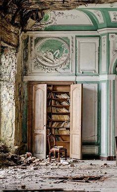 Abandoned...Book Case inside Manor G, UK.