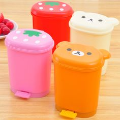 Four Golden Delicious Specials easily bear cartoon Desktop clamshell trash bins Storage barrels E821 snacks - SGbuy4u - Simply Better Shopping!