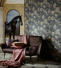 Iliad by Zoffany is a beautiful, umbrella like flower pattern wallpaper design, with a distressed textural, background. Zoffany Wallpaper, Marimekko Wallpaper, Pattern Wallpaper, Room Wallpaper, Designers Guild Wallpaper, Designer Wallpaper, How To Make Curtains, Made To Measure Curtains, Animal Print Wallpaper