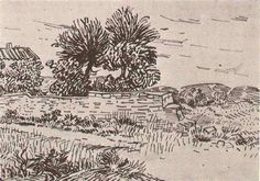 Landscape with the Wall of a Farm - Vincent van Gogh