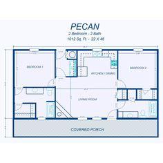 David's Ready Built Homes - 2 Bedroom Floor Plans Small Floor Plans, Cabin Floor Plans, Best House Plans, Small House Plans, 2 Bedroom Floor Plans, Bedroom Flooring, Basement Flooring, Tile Flooring, Rubber Flooring