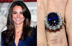 Kate Middleton's stunning sapphire engagement ring, which once belonged to Princess Diana.