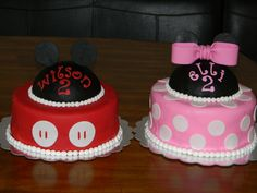 I did these cakes for two year old twins. Mickey is chocolate and Minnie is vanilla. The hats are RKT covered in fondant.