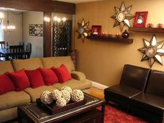 Contemporary living room grey and orange design pictures - Red orange and brown living rooms ...
